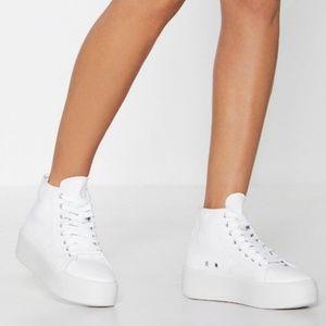 NastyGal White Platform Sneakers (never worn)